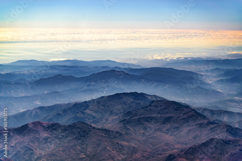 Foto op Canvas Nachtblauw Chilean Andes Mountains Aerial View