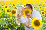 Couple in love kissing in the field with sunflowers