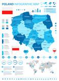 Fototapety Poland - infographic map and flag - illustration