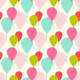 Seamless vector pattern with pastel color balloons.