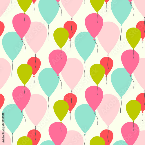 Fototapeta Seamless vector pattern with pastel color balloons.