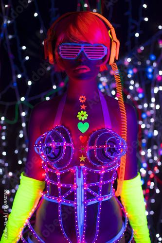glow uv neon sexy disco female cyber doll robot electronic toy - 165960158