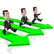 3D running businessmen, arrows