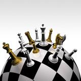 3d szachownicy złota i srebra na okrągły szachownicy
