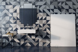 Luxury bathroom interior, mosaic wall, poster