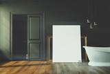 Black bathroom, white tub, poster toned