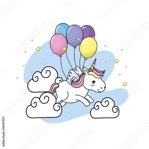 cute unicorn with wings and balloons and clouds