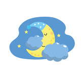 cute moon with sleep hat design and clouds with stars
