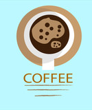 Coffee logo smooth art vector design template