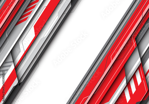 Abstract red gray metal futuristic with white bank space for text place design modern creative background vector illustration.