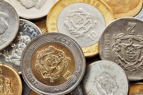 Close up picture of Moroccan dirham, shallow depth of field.