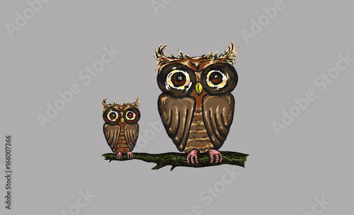 Illustration of an owl with a baby
