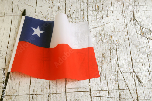 Bandera de Chile La Estrella Solitaria Bandiera Flag of Chile 智利國旗 del 칠레의 국기 Ci Poster