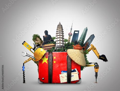 China, vintage suitcase with China flag and landmarks