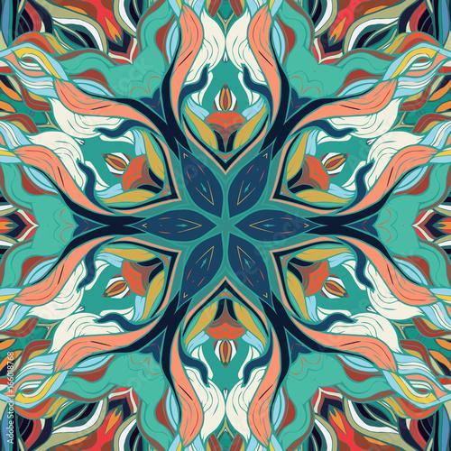 Ornamental lace floral mandala square pattern - 166018768