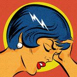 Pop Art kobieta z bólem głowy
