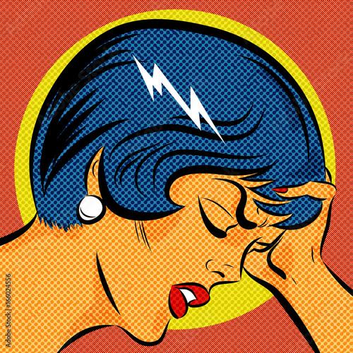 Poster Pop Art pop art femme qui a mal à la tête et souffre de migraine
