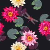 Seamless carps and lotus - 166027543