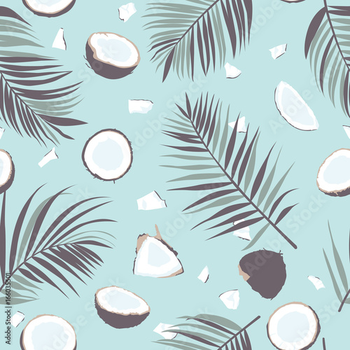Cotton fabric Seamless pattern with coconut and palm leaves. Tropical pattern background. Vector illustration