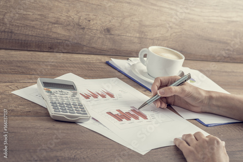 Retro style image of a female business accountant - 166037137
