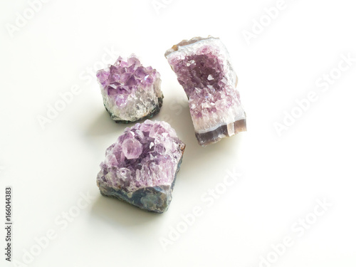 Tuinposter Edelsteen Three Amethyst geodes for crystal therapy treatments and reiki