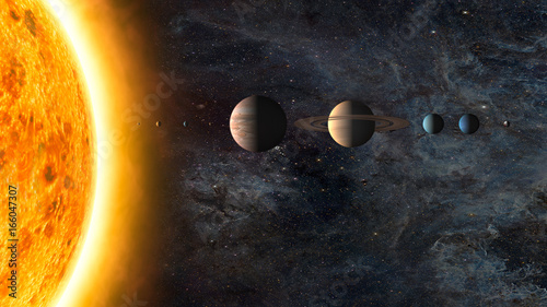 Solar system. Elements of this image furnished by NASA - 166047307