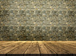 3D stone wall texture with wooden table