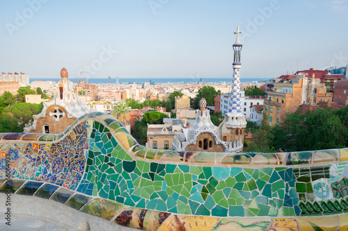 Gaudi bench and cityscape of Barcelona from park Guell, famous view of Barcelona, Spain