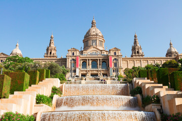 view of National museum of Barcelona with cascade of fountains, Catalonia Spain