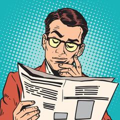 avatar portrait man reading a newspaper