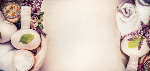 Spa or wellness background with herbal  equipment for massage and relaxing, top view, banner © VICUSCHKA