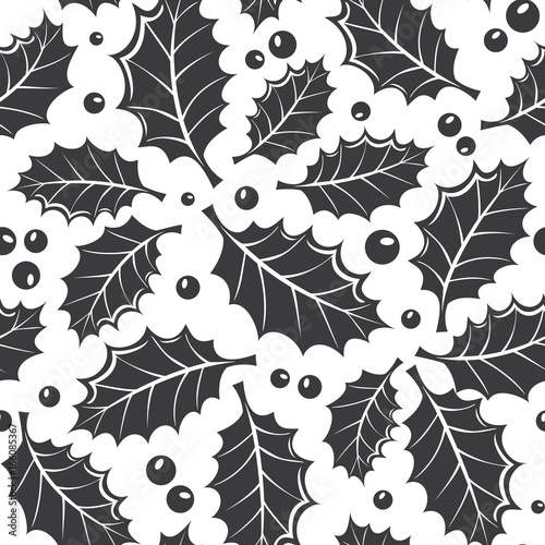 winter black and white seamless pattern with holly leaf and berries