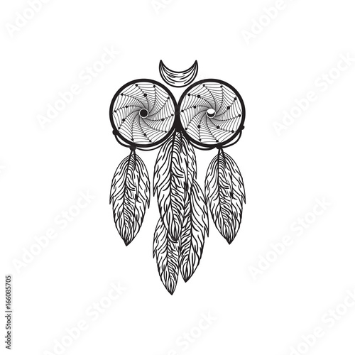 Hand Drawn Native American Dreamcatcher Owl With Feathers Vector