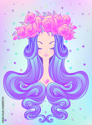 Cute teen girl with closed eyes and long hair. Mix of art nouveau and kawaii gothic style. Hipster, pastel goth, vibrant colors isolated. Vector illustration. - 166085724