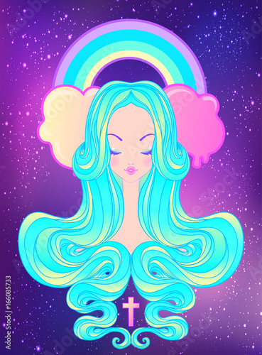 Cute teen girl with closed eyes and long hair. Mix of art nouveau and kawaii gothic style. Hipster, pastel goth, vibrant colors isolated. Vector illustration. - 166085733