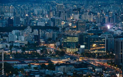 Center of Seoul near Gwanghwamun Square at night