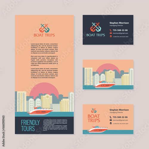 Yacht on the background of the urban landscape. Vector illustration in flat style. Template business cards and flyers.