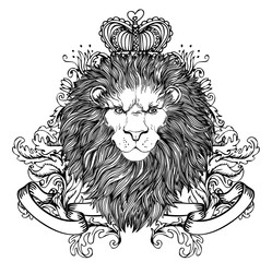 Decorative illustration of heraldic Lion Head with royal crown and ribbon. Vector illustration isolated on white. Hand drawn vintage. Line art tattoo template.