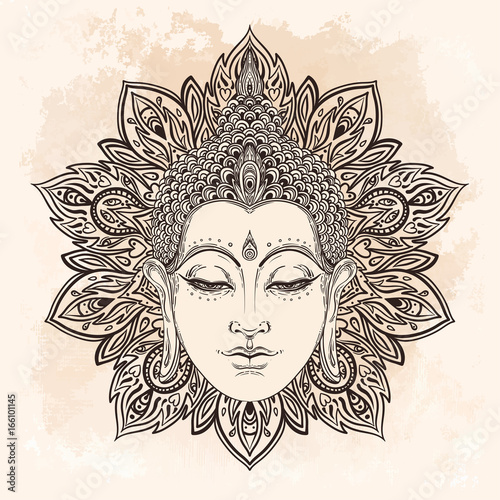 Buddha face in ornate mandala round pattern over beige vintage background. Esoteric vintage vector illustration. Indian, Buddhism, spiritual art. © vgorbash