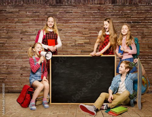 Plakat School Children Group, Kids Students around Blackboard, Boys Girls ponad Brick Wall Background