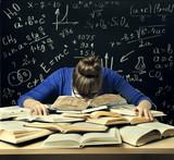 Student Hard Study, Tired Bored Woman Read Books over Blackboard Math Formulas, Difficult Education - 166103999