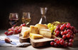 Quadro Wine, grapes and cheese