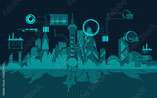 abstract technology background; digital building in modern style; concept of technology world - 166109962