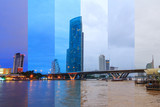 Different shade colors of different time in same frame at the river