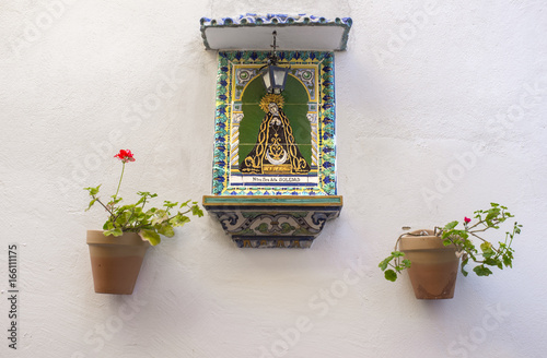 Virgin of La Soledad on decorative ceramic tiles