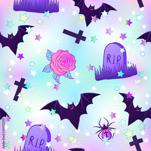 Kawaii funny spooky seamless pattern. Halloween wrapping paper background in neon pastel colors. Cute gothic style. - 166123767