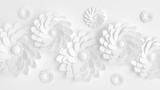 Piękny, elegancki papierowy kwiat w stylu ręcznie robionym na białej ścianie. Ilustracja 3D