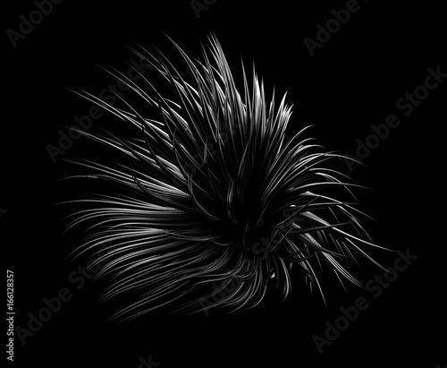 Abstract light glowing gold shape black background. 3d illustration, 3d rendering. - 166128357