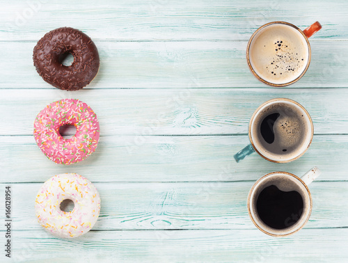 Sticker Coffee cup and colorful donuts