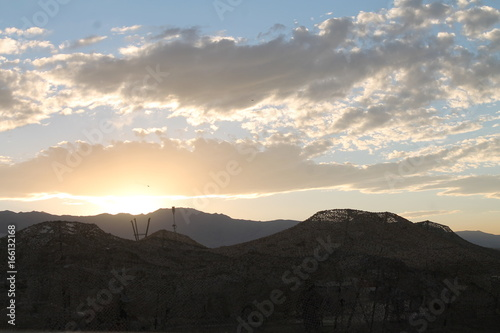 Tuinposter Grijze traf. Sunset with Mountains